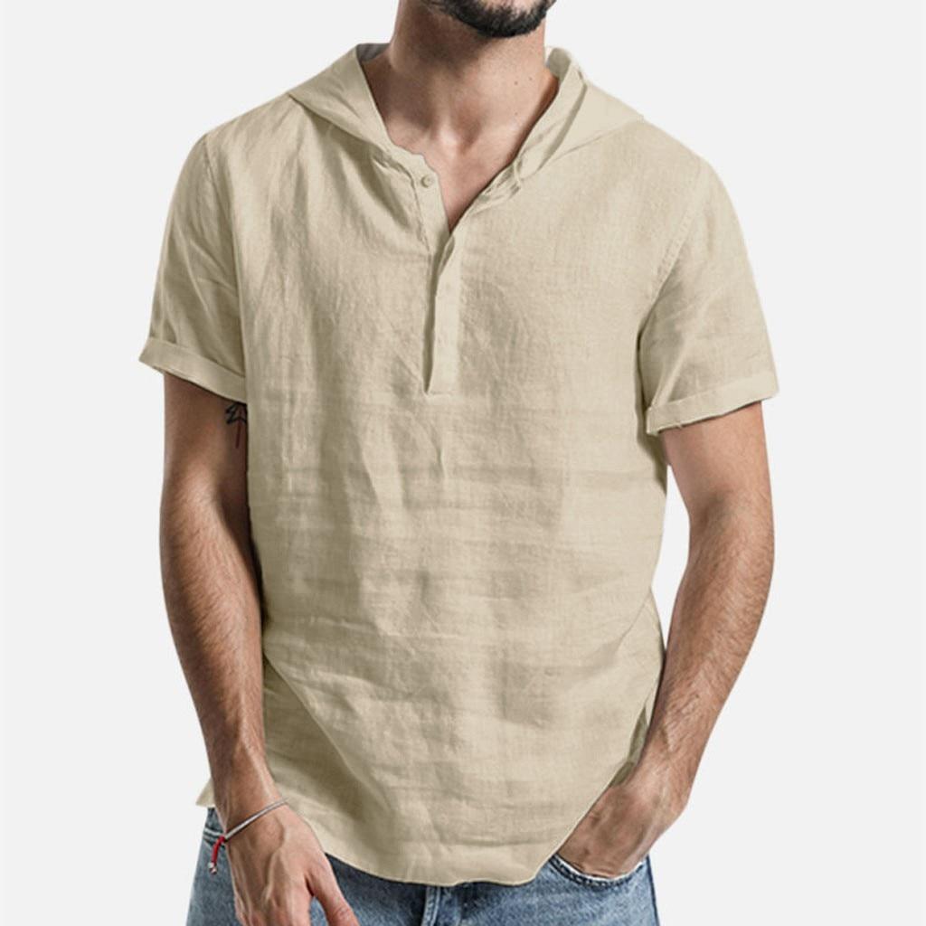 2020 New Summer Short-sleeved Shirts Men 100% Linen Khaki Slim Fit Plus Size High Quality Tops Hooded Shirt White khaki Blue