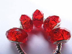 5PCS 14*8mm Red Color European DIY Jewelry Making Big Hole Rondelle Faceted Glass Crystal Beads Charms For Pandora Bracelet