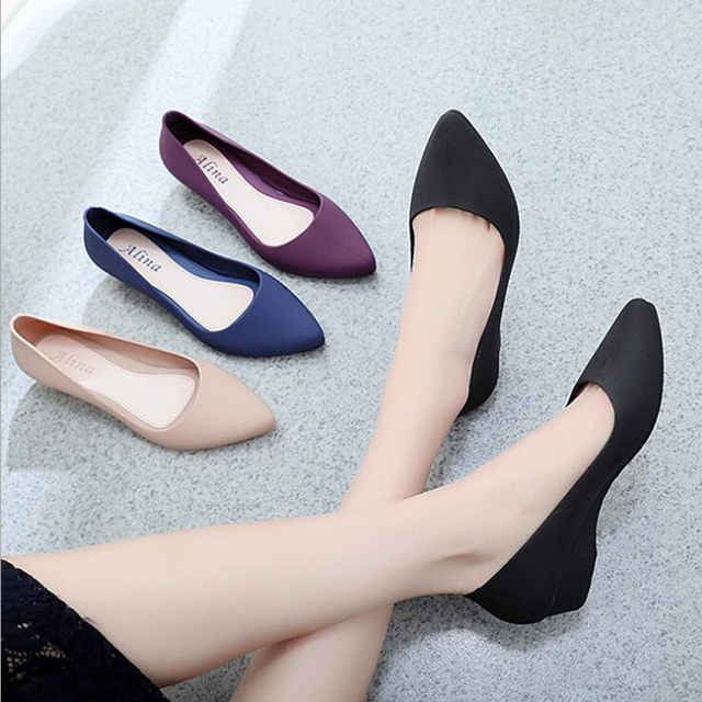 Women's work shoes 2019 autumn new pointed sandals solid color wedge shoes casual comfortable home platform Full rubber shoes 2