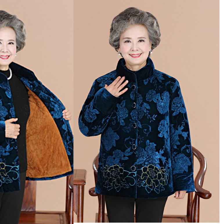 2017 In the elderly cotton down jacket women's winter coat thickening plus cashmere 2017 winter women plus size in the elderly mother loaded cotton coat jacket casual thickening warm cotton jacket coat women 328