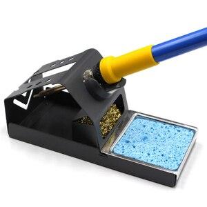 Image 2 - Estación de soldadura de hierro T12, soporte estable para puntas de hierro para soldar con almohadilla de aislamiento, esponja limpiadora de punta de bola de alambre de latón