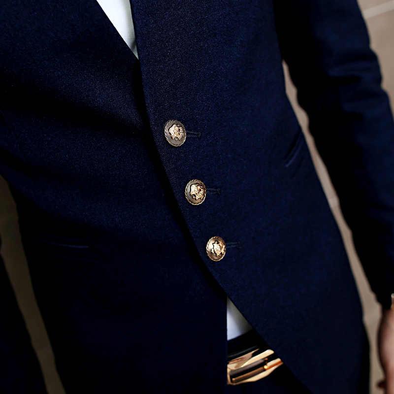 e275eb24fc ... Fashion Masculino Ternos 2017 New Arrival Navy Blue Wedding Men Tuxedo  Stylish Yong Men Business Men ...