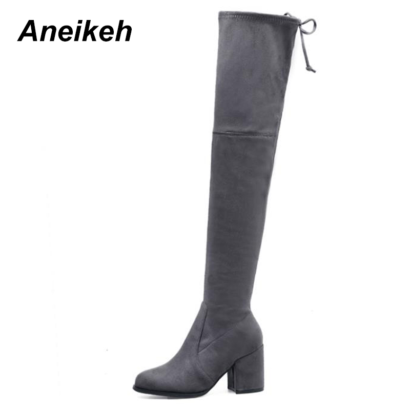 Aneikeh Women Boots 2018 Autumn Winter Fashion Thick Heel Shoes Over The Knee Thigh Stretch Kid Suede Long Boots