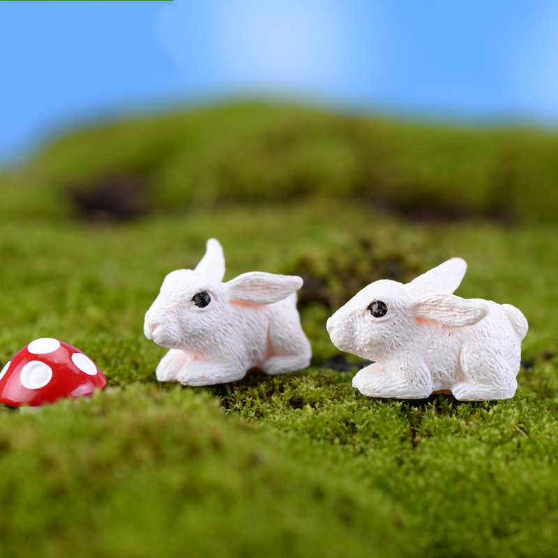 ZOCDOU 2 Pieces White Rabbit Hare Coney Carrot Lapin Grassland Australia Small Statue Figurine Crafts Ornament DIY Miniatures