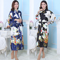 Женщины Японские Кимоно Женский Шелковый Халат Многоцветный Пижамы Леди Халат + Ремень Пижамы Одежда Атласная Домашняя Одежда 16