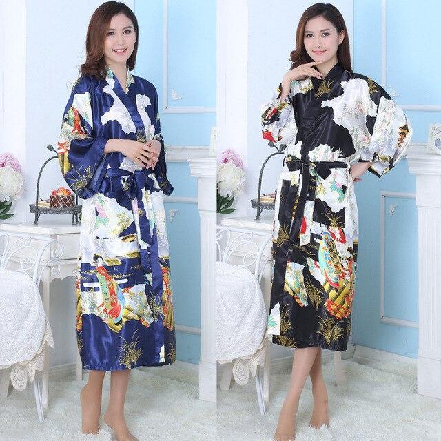 Women Japanese Kimono Female Silk Bathrobe Multicolor Pajamas Lady Robe+Belt Sleepwear Clothes Satin Flower Homewear 16