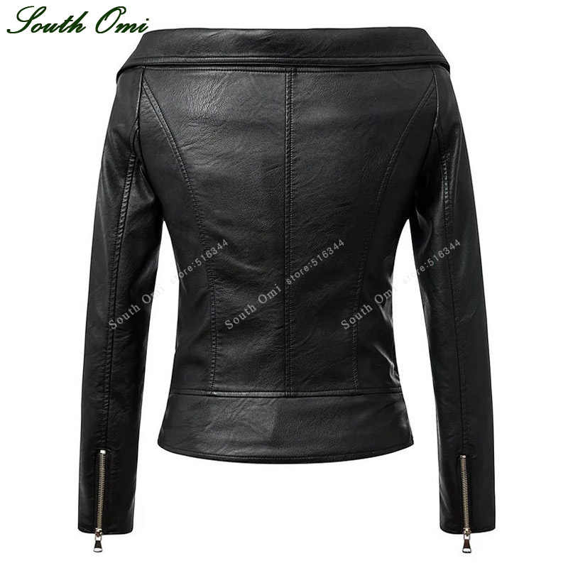 Autumn Sexy Off Shoulder Turn-Down Collar Black Leather Jacket Women Coats Motorcycle Slim chaqueta cuero mujer leather