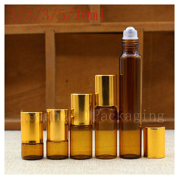 110PC Brown Small Sample Roll Ball  Bottle, Toning Lotion, Essential oil of The Containers, Empty Cosmetic Packaging Bottle