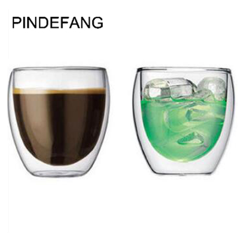 PINDEFANG 2Pieces 250ml Double wall Heat Insulated Glass Coffee Mug Novelty Daily Drinkware Juice Water Tea Cup Wholesale gadget
