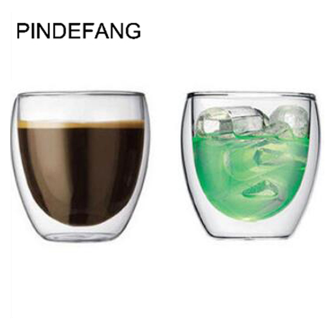 Pindefang 2pieces 250ml Double Wall Heat Insulated Gl Coffee Mug Novelty Daily Drinkware Juice Water Tea