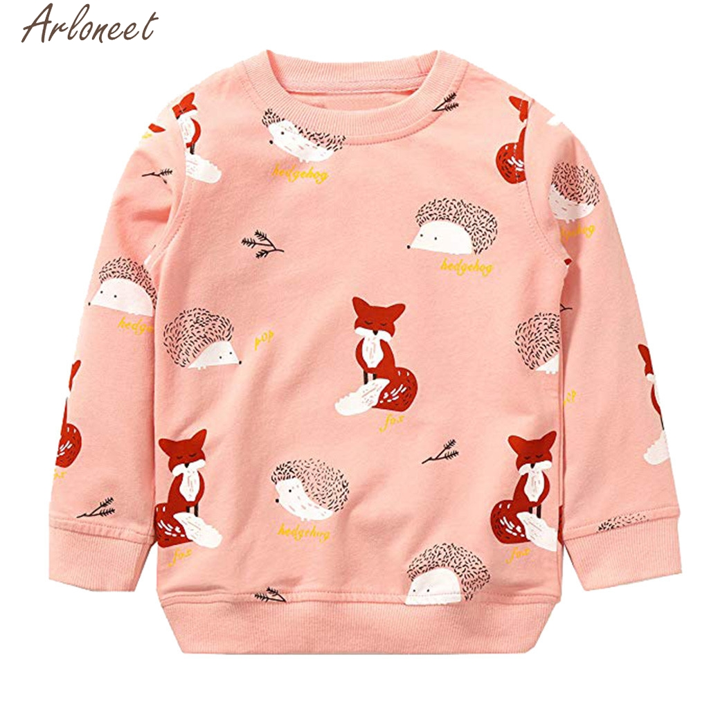 ARLONEET Toddler Baby Boys Girls Clothes Cartoon Fox Print Boys Hoodies Cute Child Sweatshirt Sweatshirts For Boy&Girl Clothes(China)