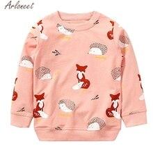 ARLONEET Одежда для маленьких мальчиков и девочек толстовки с капюшоном для мальчиков с принтом лисы милый детский свитер, толстовки для мальчиков и девочек