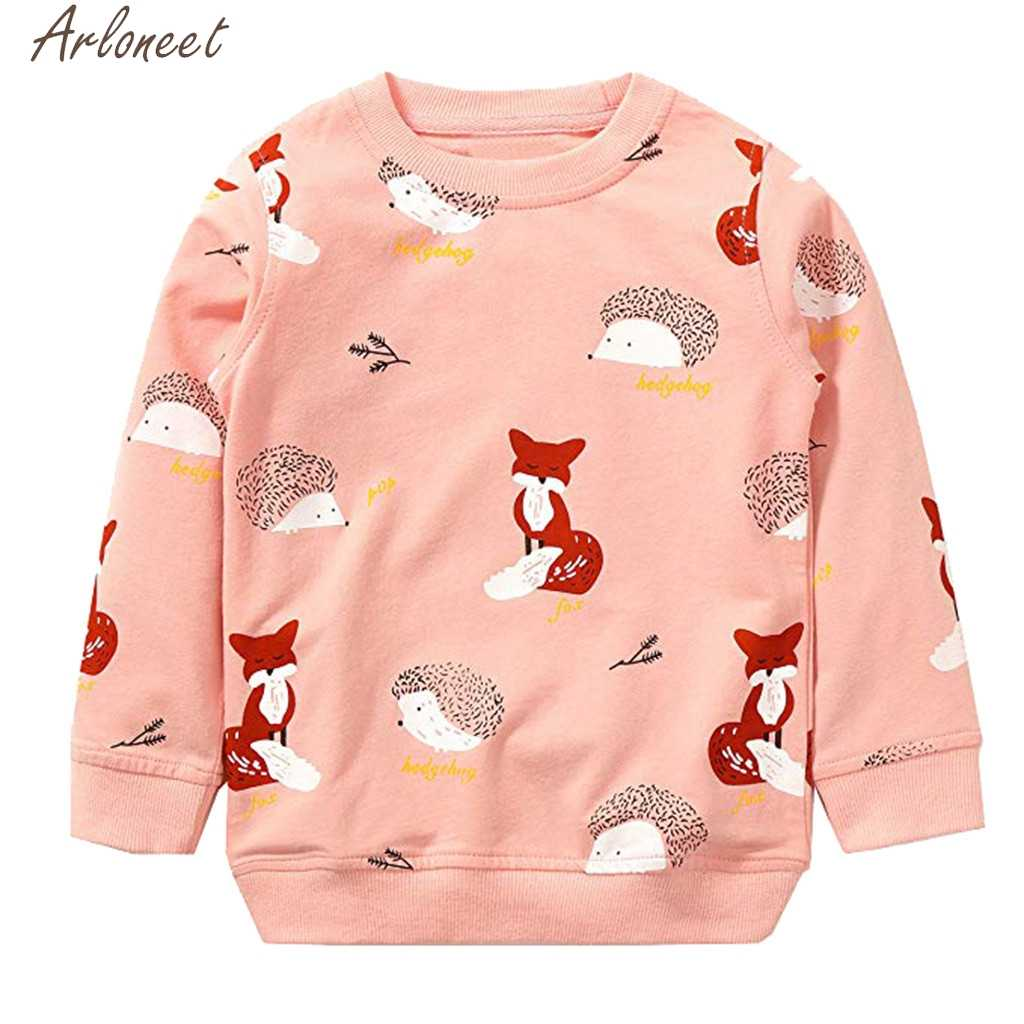 ARLONEET Toddler Baby Boys Girls Clothes Cartoon Fox Print Boys Hoodies Cute Child Sweatshirt Sweatshirts For Boy&Girl Clothes