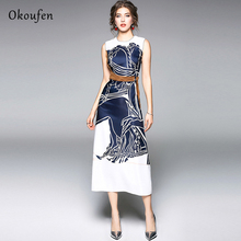OKOUFEN Dress Classic Fashion Show Sleeveless Embroidery Color Tie Print  Spring Summer dress Street Trend vestidos ZX0002