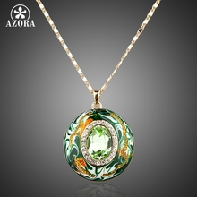 AZORA Gold Plated Stellux Austrian Crystals Oil Painting Pattern Design Pendant Necklace TN0007