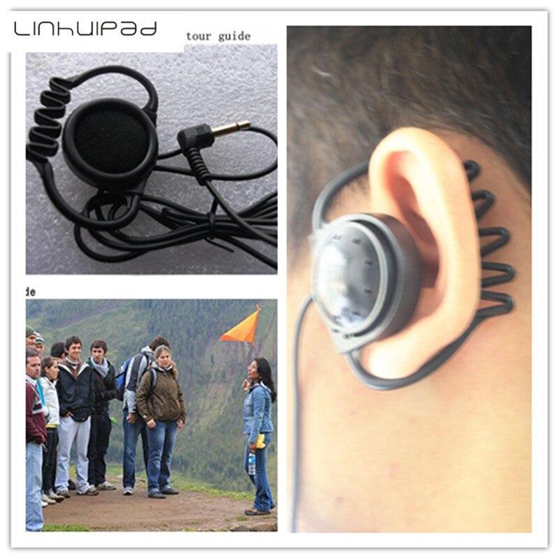 Linhuipad 모노 훅 이어폰 100 팩 투어 가이드 시스템 이어폰 헤드셋 부드러운 고무 후크 수신기 이어폰