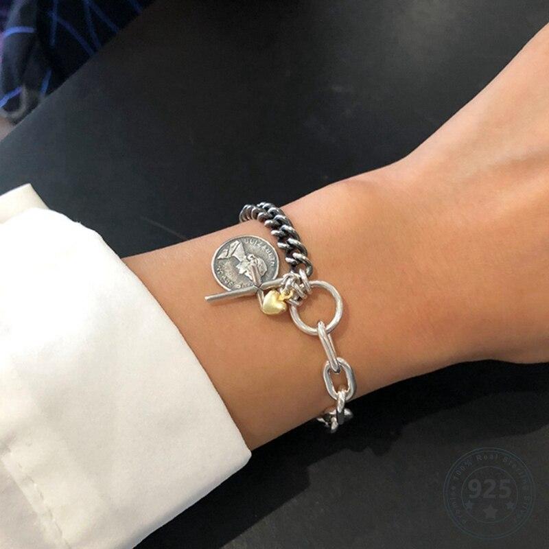 LouLeur Real 925 Sterling Silver Coin Chain Bracelets Vintage Weaving Cross Heart  Bracelets Gift For Women Fashion Fine Jewelry