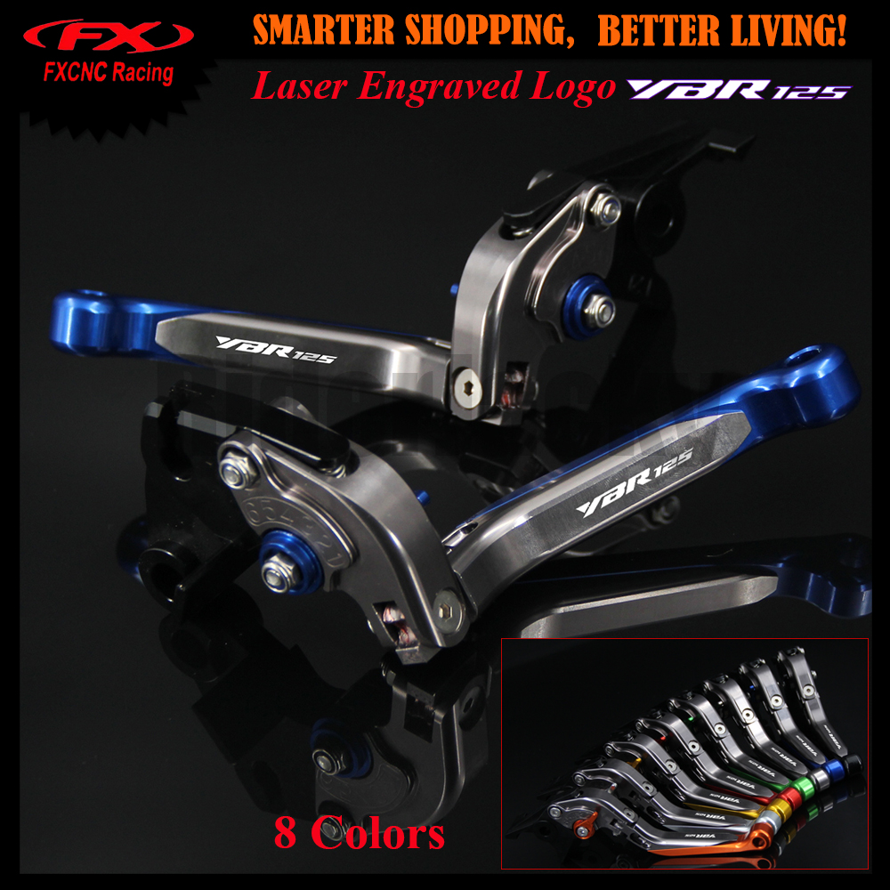 !With Logo Blue+Titanium Motorcycle CNC Adjustable Brake Clutch Lever For YAMAHA YBR125 YBR 125 2005-2010 2006 2007 2008 2009 for yamaha yzf r15 2013 2016 aluminum cnc adjustable extending brake clutch lever blue