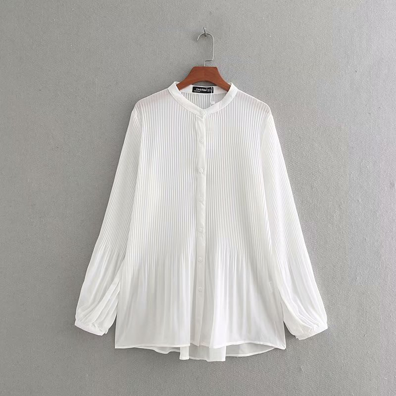 New Women Fashion Long Sleeve Chiffon Pleated Blouse Shirts Women O Neck Casual Business Blusas Femininas Chemise Tops LS3359