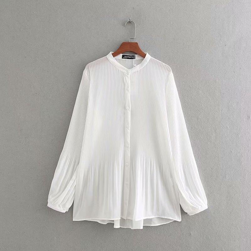 New Women Fashion Long Sleeve Chiffon Pleated Blouse Shirts Women O Neck Casual Business Blusas Femininas Chemise Tops LS3359