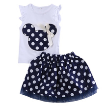 2pcs Chidren Set !!New Kids Baby Girls Minnie Mouse White Sleeveless Vest Top +Mini Polka Dot Skirt For Age1-4Year