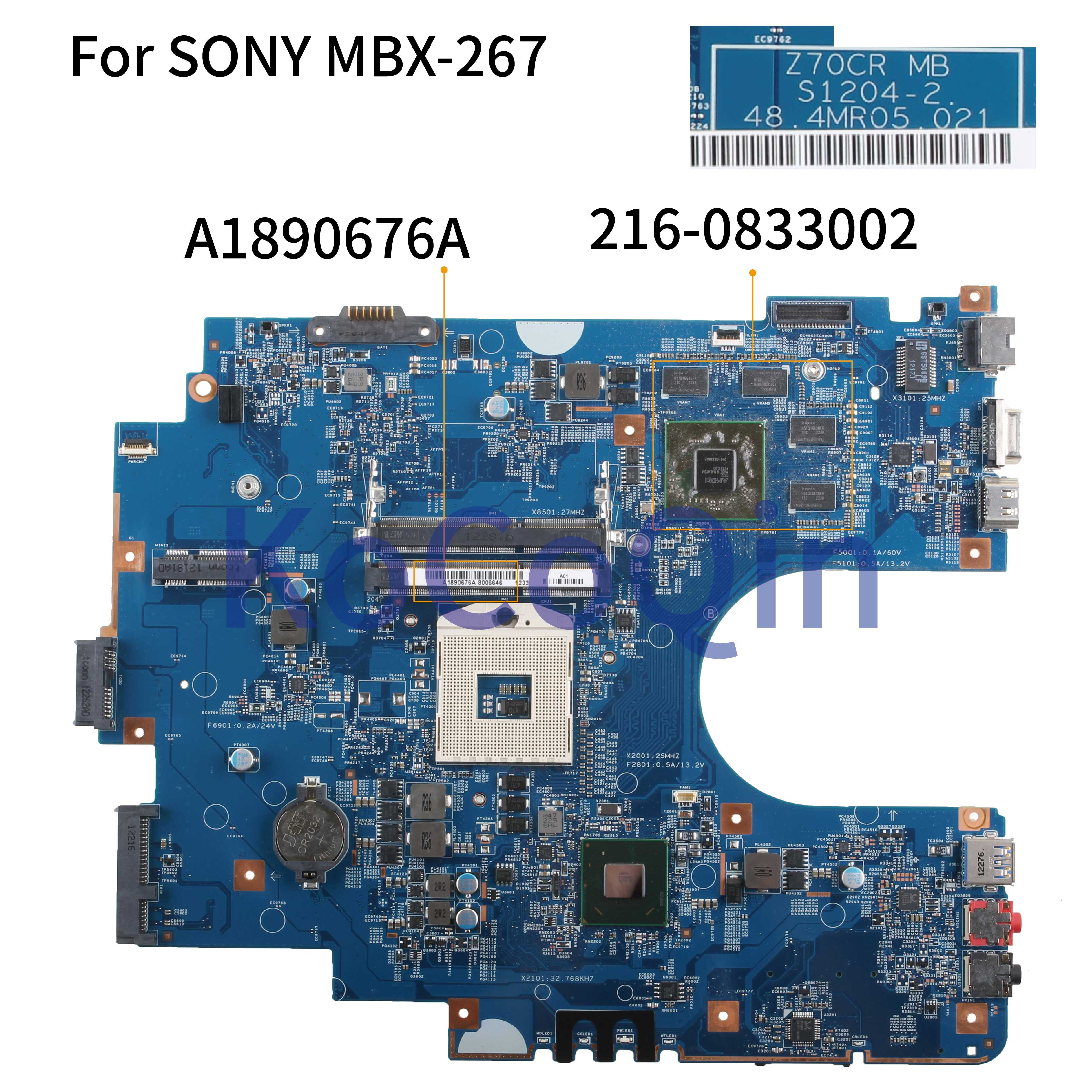 KoCoQin Laptop Motherboard For SONY Sve17 Sve1711 MBX-267 Mainboard Z70CR S1204-2 A1890676A 48.4MR05.021 HM70 216-0833002