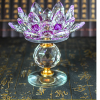 Buddhist Crystal Lotus Candlestick Decoration Crystal Craft Gift Buddha Supplies&Home Wedding Party Decoration Gift Souvenir