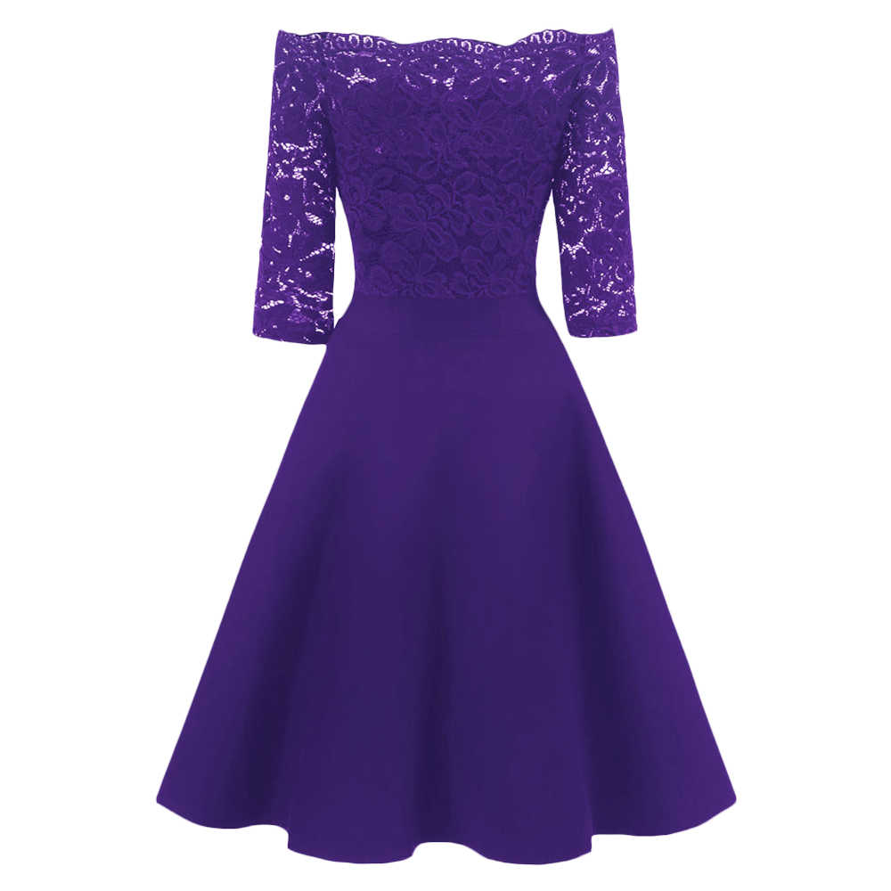 Элегантное однотонное Фиолетовое Женское винтажное платье в стиле рокабилли, кружевное офисное платье в стиле ретро, вечерние платья, вечернее платье, платье для женщин
