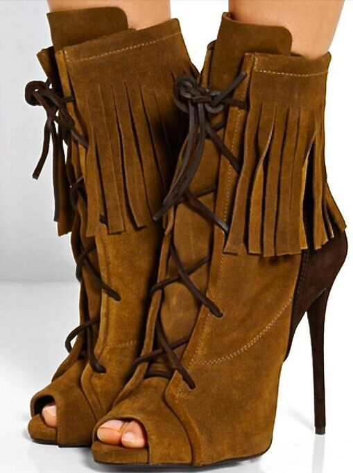2016 New casual shoes peep toe high thin heel front lace-up fringe surround ankle boots for woman in Spring/Autumn hot sale women spring autumn peep toe with tassel ankle boots ankle lace up flock fringe women spring autumn peep toe ankle boots