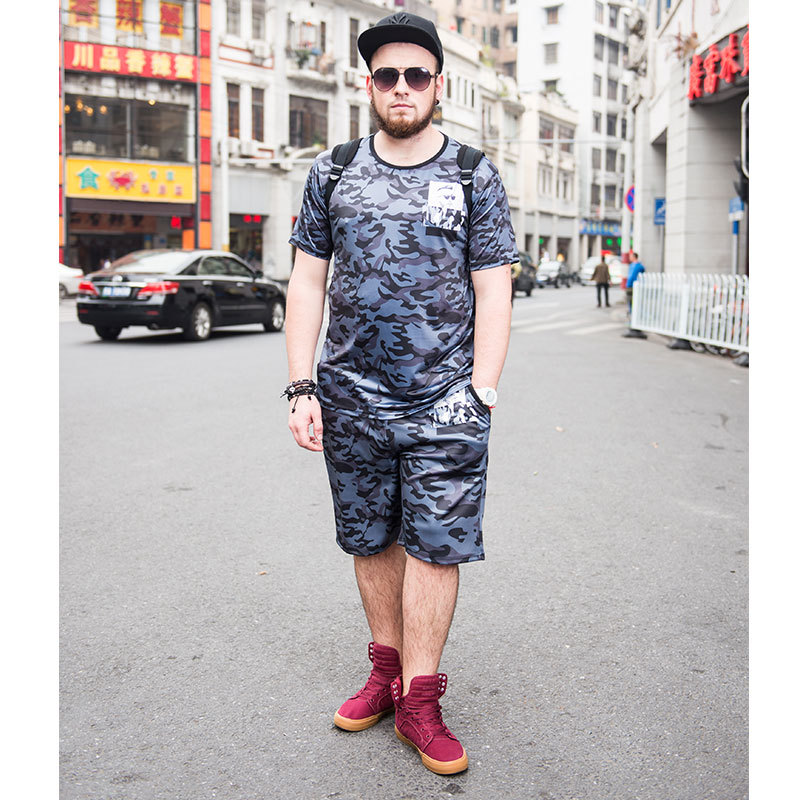 Более Размеры D 6xl Для мужчин камуфляж печати Человек Костюмы модные короткий рукав футболки с Пляжные шорты Марка Плюс Размеры костюм Для м...
