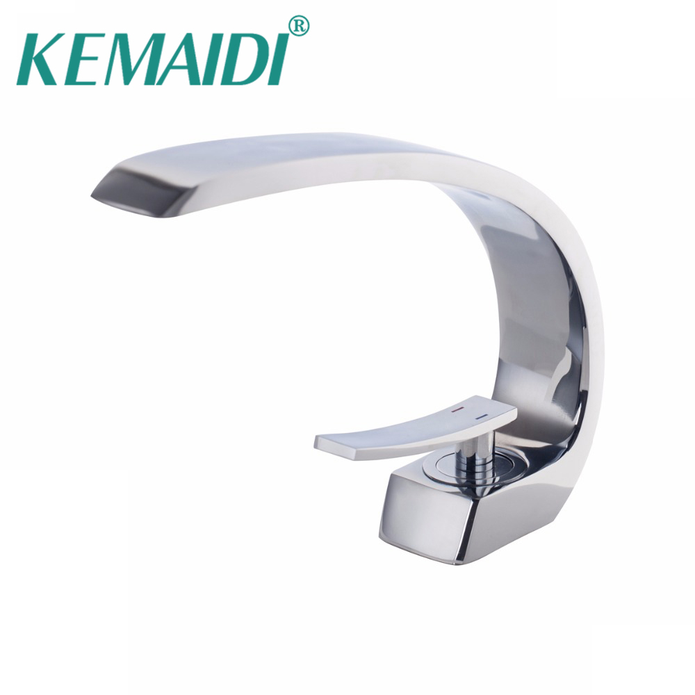 KEMAIDI Polished Elegant Bathroom Chrome Brass Faucet Single Handle Vanity Vessel Sink Mixer Tap Basin Sink Tap Deck Mounted brand new deck mounted chrome single handle bathroom