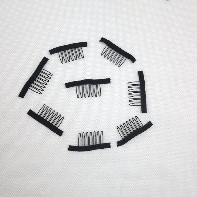 20pcs/lot Black 7 teeth lace wig combs insert lace wig cap clips ...