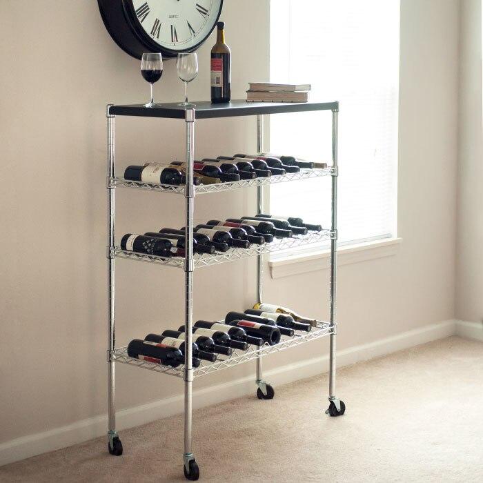 Роскошный дом Rolling Chrome винный шкаф корзину Портативный бар