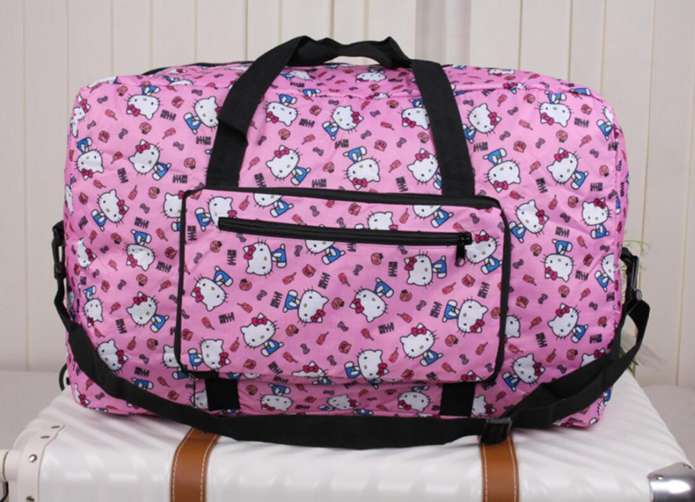 2018 Real Cartoon Anime Folding Travel Bag Large Capacity Waterproof Printing Bags For Hello Kitty Portable Womens Tote Women