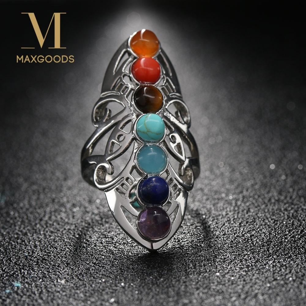 1 Pcs 7 Chakra Stone Bead Finger Rings Reiki Balance Meditation Healing Point Charm Adjustable Yoga Hollow Flower Women Ring