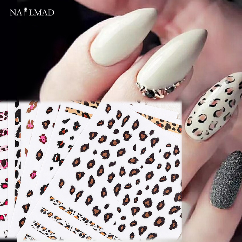 Us 131 23 Off1pc Leopard Printed 3d Nail Art Stickers Manicure Adhesive Transfer Decals Pink Leopard Sticker Decals In Stickers Decals From