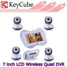 Четырехъядерный 2.4 ГГц беспроводной 7 » жк-детские монитор DVR + 4 шт. 9 ИК из светодиодов камеры видеонаблюдения поддержка SD карты запись бесплатная экспресс-доставка