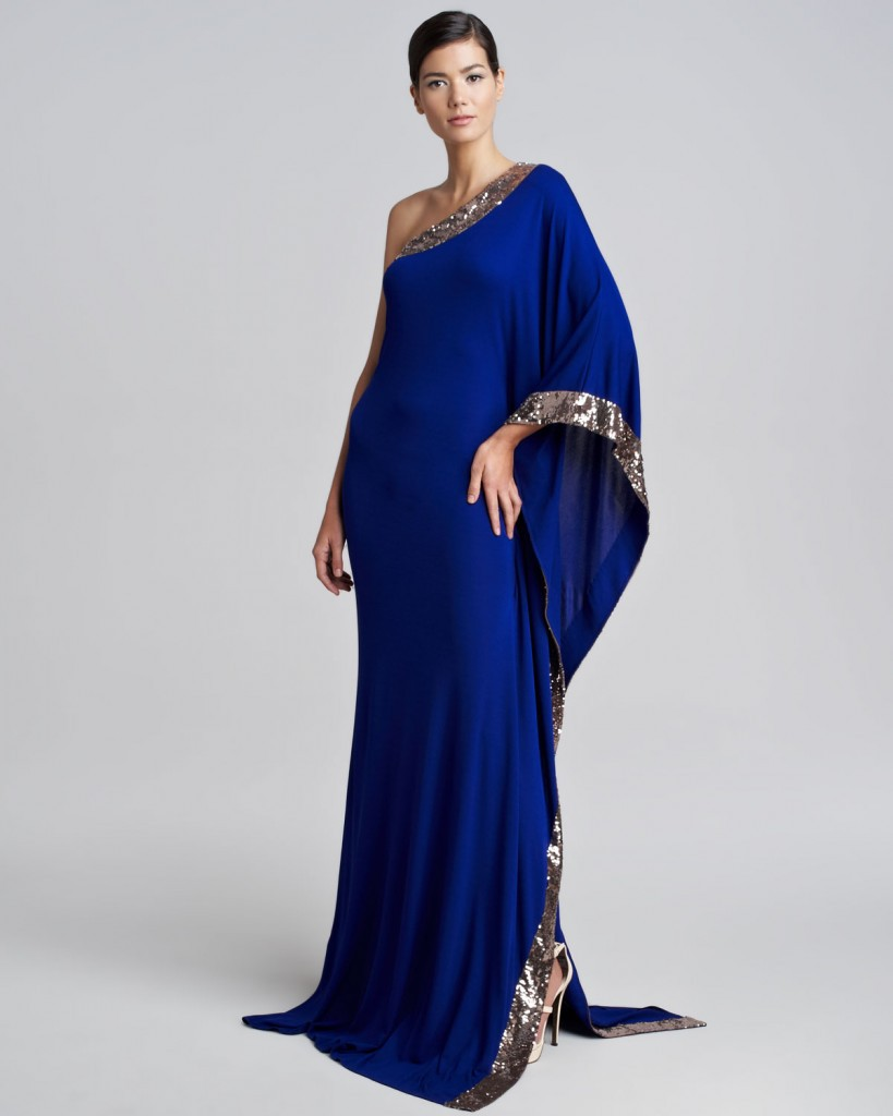 Arabian Design One Shoulder Blue Dress Sequined One Full