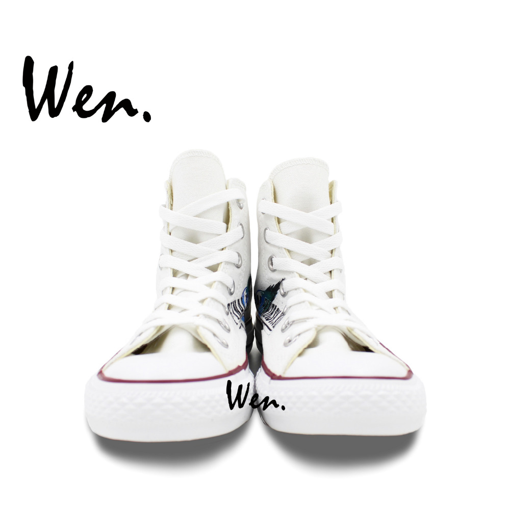 Wen Hand Painetd White Canvas Shoes Design Custom Final Fantasy Game High Top Men Womens Canvas Sneakers Christmas Gifts