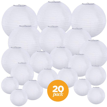 "20 Pcs/set 4""-12"" White Chinese Paper lampion Lanterns Assorted Sizes Round Paper Lanterns Wedding Party Hanging Decor Favor"
