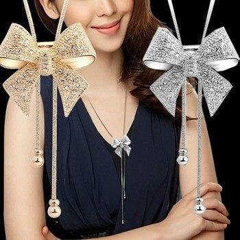 Elegante collar largo con colgante de lazo con cristales, cadena de suéter de mariposa con diamantes de imitación W715