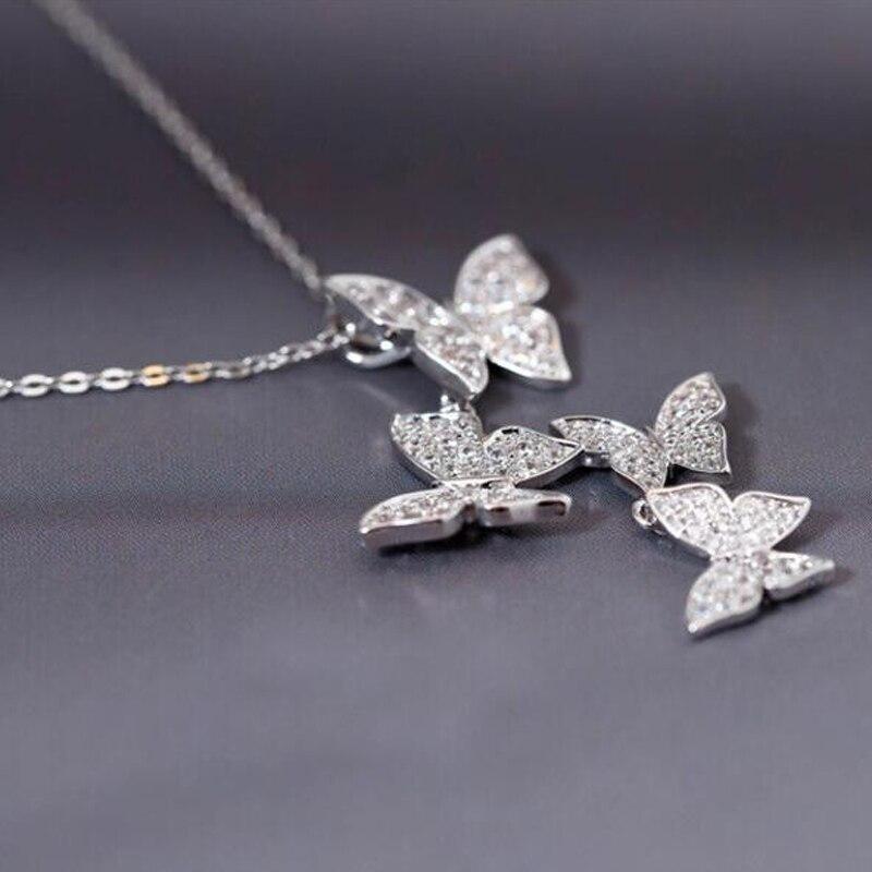 SMJEL Nove višestruke srebrne cirkonske ogrlice sa leptirima za - Modni nakit - Foto 4