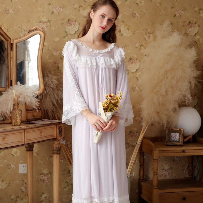 Vintage   Nightgowns     Sleepshirts   2018 Autumn Loose Sleepwear Women Light Purple White Lace Draped Sleep Wear Night Dress Homewear