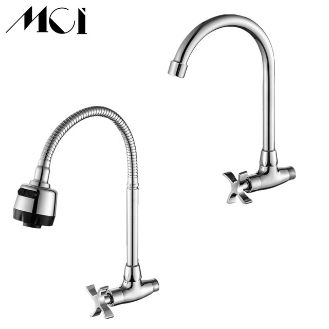 Stream Spray Bubbler Bathroom Kitchen Faucet Wall Mounted Single Hole Cold Water Flexible Pipe