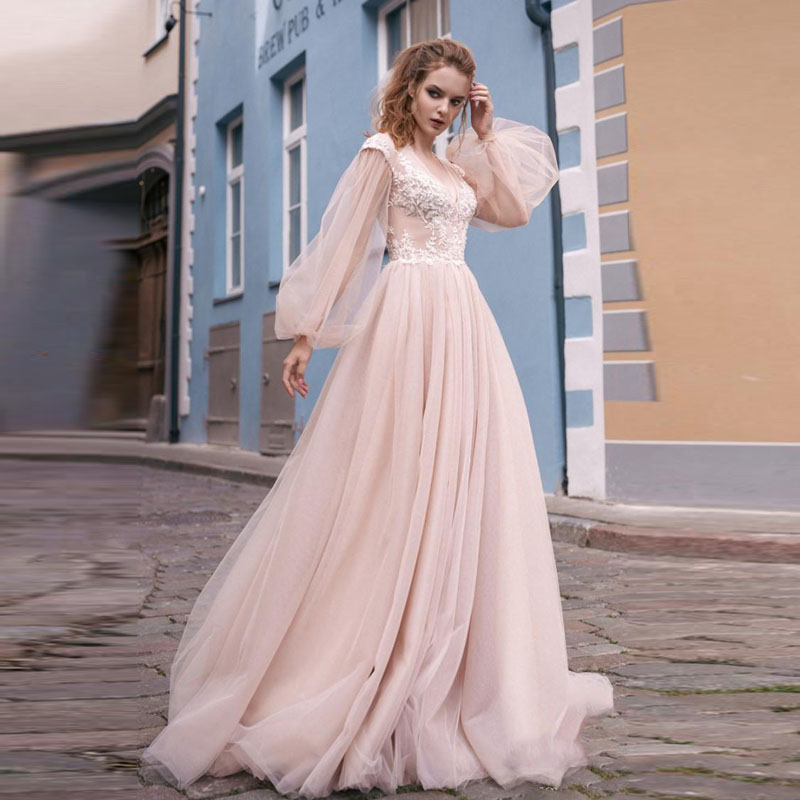 Romantic Blush Pink Wedding <font><b>Gowns</b></font> <font><b>2018</b></font> New Puffy Long Sleeve Hollow Back Lace Boho <font><b>Bridal</b></font> <font><b>Gowns</b></font> Sweep Train Vestido De Novia image