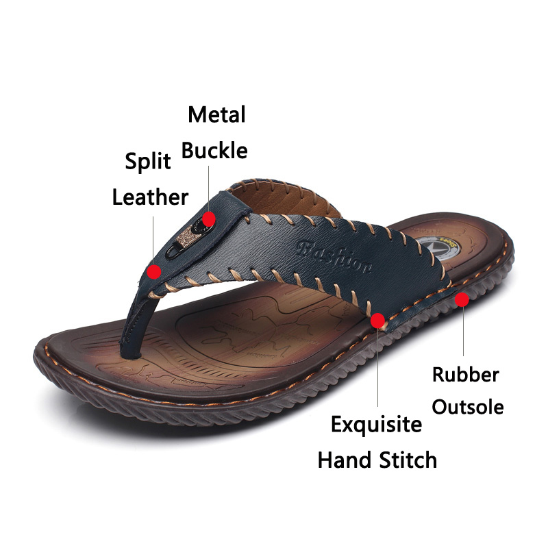 Image 3 - JUNJARM Luxury Brand 2019 New Mens Flip Flops Genuine Leather Men Slippers Summer Fashion Beach Sandals Shoes For Menshoes brandshoes fashionshoes for -