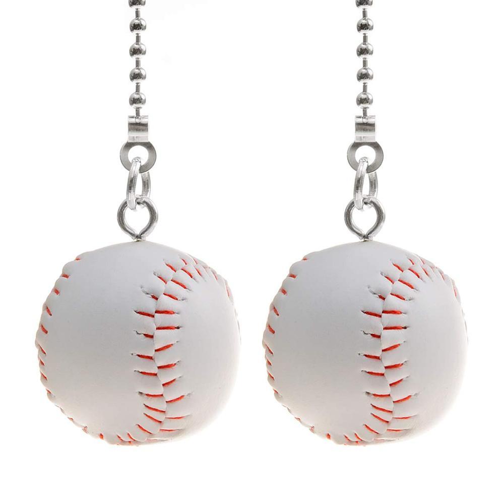 Ventilateur Pull chaîne Extension décorative 12 pouces lumière Pull chaîne ensemble argent ton chaînes Baseball pendentif pour plafond ventilateur lumières lampe