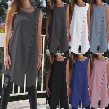 2019 Celmia Vintage Blouses Women Asymmetrical Tunic Tops Summer Sleeveless Buttons Casual Split Long Shirts Plus Size Blusas 1