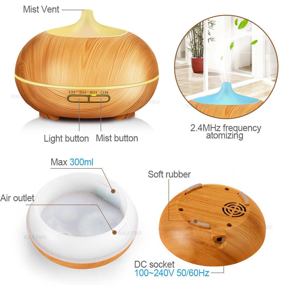 300ML Aroma Diffuser น้ำมันหอมระเหยไม้น้ำมันหอมระเหยน้ำมันหอมระเหยอัลตราโซนิค Cool Mist Humidifier สำหรับรีโมทคอนโทรล