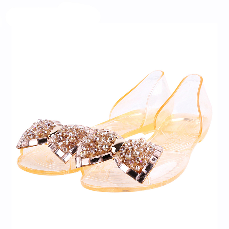 1738a083c1cdab aliexpress.com - 2018 Spring Summer Sandals Women Casual Bowtie Shoes  Fashion Jelly Shoes Transparent PVC Flat Shoes Woman sandalias mujer -  imall.com